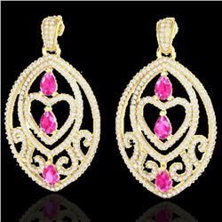 7 ctw Sapphire Pink & Micro Pave Diamond Heart Earrings 18k Yellow Gold - REF-418W2H