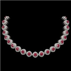 82.17 ctw Certified Ruby & Diamond Victorian Necklace 14K White Gold - REF-1800G2W