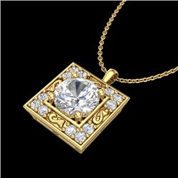 1.02 ctw VS/SI Diamond Solitaire Art Deco Necklace 18k Yellow Gold - REF-200Y2X
