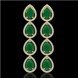 16.01 ctw Emerald & Diamond Micro Pave Halo Earrings 10k Yellow Gold - REF-236H4R