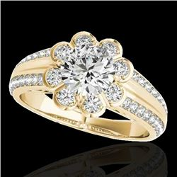 1.5 ctw Certified Diamond Solitaire Halo Ring 10k Yellow Gold - REF-190Y9X
