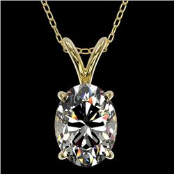 1.25 ctw Certified VS/SI Quality Oval Diamond Necklace 10k Yellow Gold - REF-325X2A