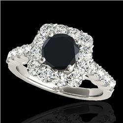 2.5 ctw Certified VS Black Diamond Solitaire Halo Ring 10k White Gold - REF-91W4H