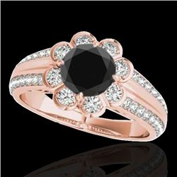 1.5 ctw Certified VS Black Diamond Solitaire Halo Ring 10k Rose Gold - REF-57N3F