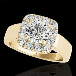 1.55 ctw Certified Diamond Solitaire Halo Ring 10k Yellow Gold - REF-190K9Y
