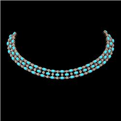 44.45 ctw Turquoise & Diamond Necklace 10K Rose Gold - REF-527G3W