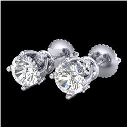 1.26 ctw VS/SI Diamond Solitaire Art Deco Stud Earrings 18k White Gold - REF-209A3N