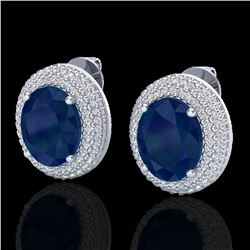 9.20 ctw Sapphire & Micro Pave VS/SI Diamond Earrings 18k White Gold - REF-190Y2X