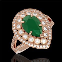 5.12 ctw Certified Emerald & Diamond Victorian Ring 14K Rose Gold - REF-178N2F