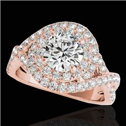 2 ctw Certified Diamond Solitaire Halo Ring 10k Rose Gold - REF-259W3H
