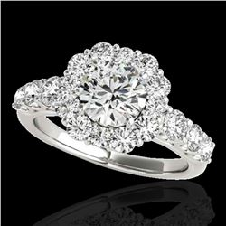2.9 ctw Certified Diamond Solitaire Halo Ring 10k White Gold - REF-402W3H