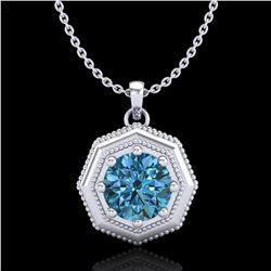 0.75 ctw Fancy Intense Blue Diamond Art Deco Necklace 18k White Gold - REF-100G2W