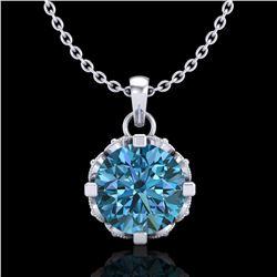 1.14 ctw Fancy Intense Blue Diamond Art Deco Necklace 18k White Gold - REF-125R5K