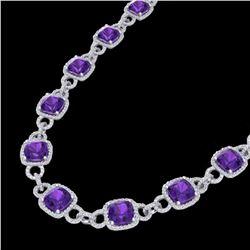 66 ctw Amethyst & Micro VS/SI Diamond Eternity Necklace 14k White Gold - REF-881F8M