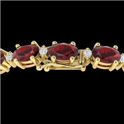 15 ctw Garnet & VS/SI Diamond Certified Eternity Bracelet 10k Yellow Gold - REF-74F2M