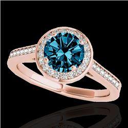 1.93 ctw SI Certified Fancy Blue Diamond Halo Ring 10k Rose Gold - REF-190A9N