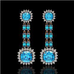 19.64 ctw Swiss Topaz & Diamond Earrings 14K Rose Gold - REF-232M9G