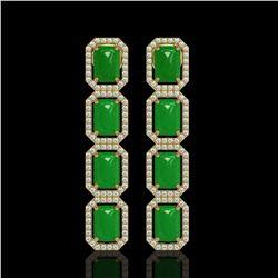 11.93 ctw Jade & Diamond Micro Pave Halo Earrings 10k Yellow Gold - REF-146F4M