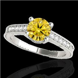 1.45 ctw Certified SI Intense Yellow Diamond Antique Ring 10k White Gold - REF-231A8N