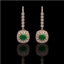 5.1 ctw Certified Emerald & Diamond Victorian Earrings 14K Rose Gold - REF-172F8M