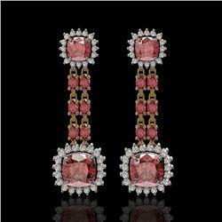 18.38 ctw Tourmaline & Diamond Earrings 14K Yellow Gold - REF-435K5Y