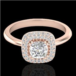 1.16 ctw Micro SI Cushion Diamond Engagment Ring Halo 14k Rose Gold - REF-134K4Y