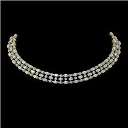 61.73 ctw Sky Topaz & Diamond Necklace 10K Yellow Gold - REF-527M3G