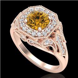 1.75 ctw Intense Fancy Yellow Diamond Art Deco Ring 18k Rose Gold - REF-318R2K