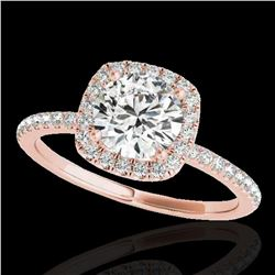 1.5 ctw Certified Diamond Solitaire Halo Ring 10k Rose Gold - REF-238R6K