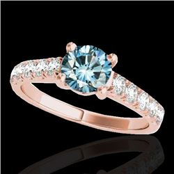 1.55 ctw SI Certified Fancy Blue Diamond Solitaire Ring 10k Rose Gold - REF-155X5A