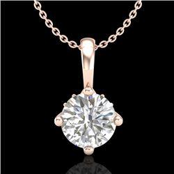 0.82 ctw VS/SI Diamond Solitaire Art Deco Stud Necklace 18k Rose Gold - REF-180A2N