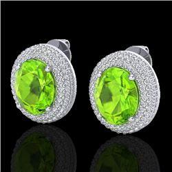 9 ctw Peridot & Micro Pave VS/SI Diamond Earrings 18k White Gold - REF-186K8Y