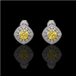 3.89 ctw Canary Citrine & Diamond Victorian Earrings 14K White Gold - REF-108A5N