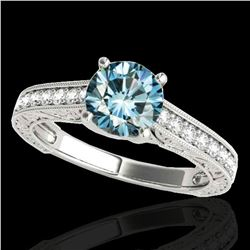 1.32 ctw SI Certified Fancy Blue Diamond Solitaire Ring 10k White Gold - REF-121H4R