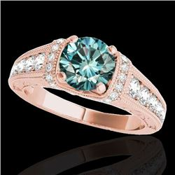 1.75 ctw SI Certified Blue Diamond Solitaire Antique Ring 10k Rose Gold - REF-184H3R
