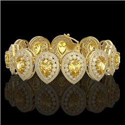 46.44 ctw Canary Citrine & Diamond Victorian Bracelet 14K Yellow Gold - REF-1328F2M