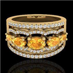 2.25 ctw Citrine & Micro Pave VS/SI Diamond Designer Ring 10k Yellow Gold - REF-81N8F