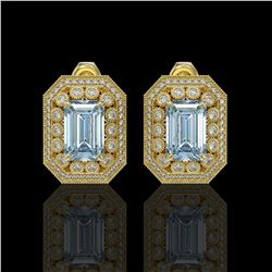 10.91 ctw Aquamarine & Diamond Victorian Earrings 14K Yellow Gold - REF-327A3N