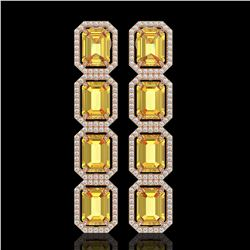 18.64 ctw Fancy Citrine & Diamond Micro Pave Halo Earrings 10k Rose Gold - REF-184M2G
