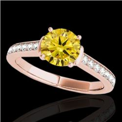 1.5 ctw Certified SI/I Fancy Intense Yellow Diamond Ring 10k Rose Gold - REF-204A5N
