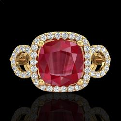 3.15 ctw Ruby & Micro VS/SI Diamond Certified Ring 18k Yellow Gold - REF-76A8N