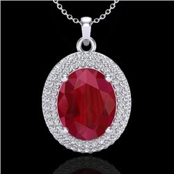 4.50 ctw Ruby & Micro Pave VS/SI Diamond Necklace 18k White Gold - REF-120K9Y