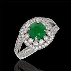 2.69 ctw Certified Emerald & Diamond Victorian Ring 14K White Gold - REF-104X9A