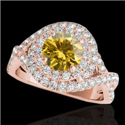 2 ctw Certified SI/I Fancy Intense Yellow Diamond Halo Ring 10k Rose Gold - REF-259W3H