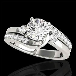2 ctw Certified Diamond Bypass Solitaire Ring 10k White Gold - REF-381G8W