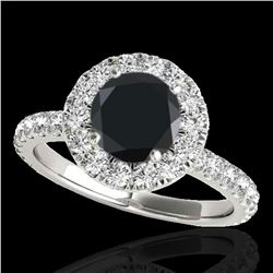 2 ctw Certified VS Black Diamond Solitaire Halo Ring 10k White Gold - REF-65W6H