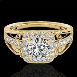 1.3 ctw Certified Diamond Solitaire Halo Ring 10k Yellow Gold - REF-197F8M