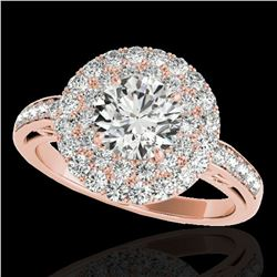 2.25 ctw Certified Diamond Solitaire Halo Ring 10k Rose Gold - REF-245W5H
