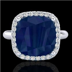 6 ctw Sapphire & Micro Pave Halo VS/SI Diamond Ring 18k White Gold - REF-77N3F