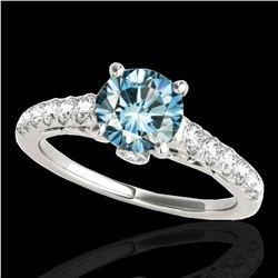 1.5 ctw SI Certified Fancy Blue Diamond Solitaire Ring 10k White Gold - REF-135N2F